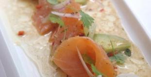 smoked salmon and avocado in tomato vinaigrette